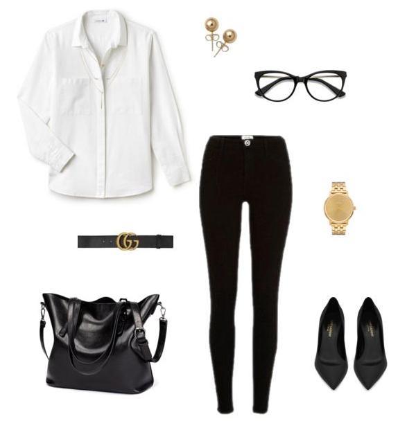 Белая рубашка и черные скинни