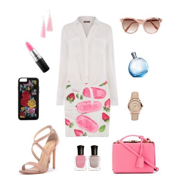 Белая рубашка и яркая юбка