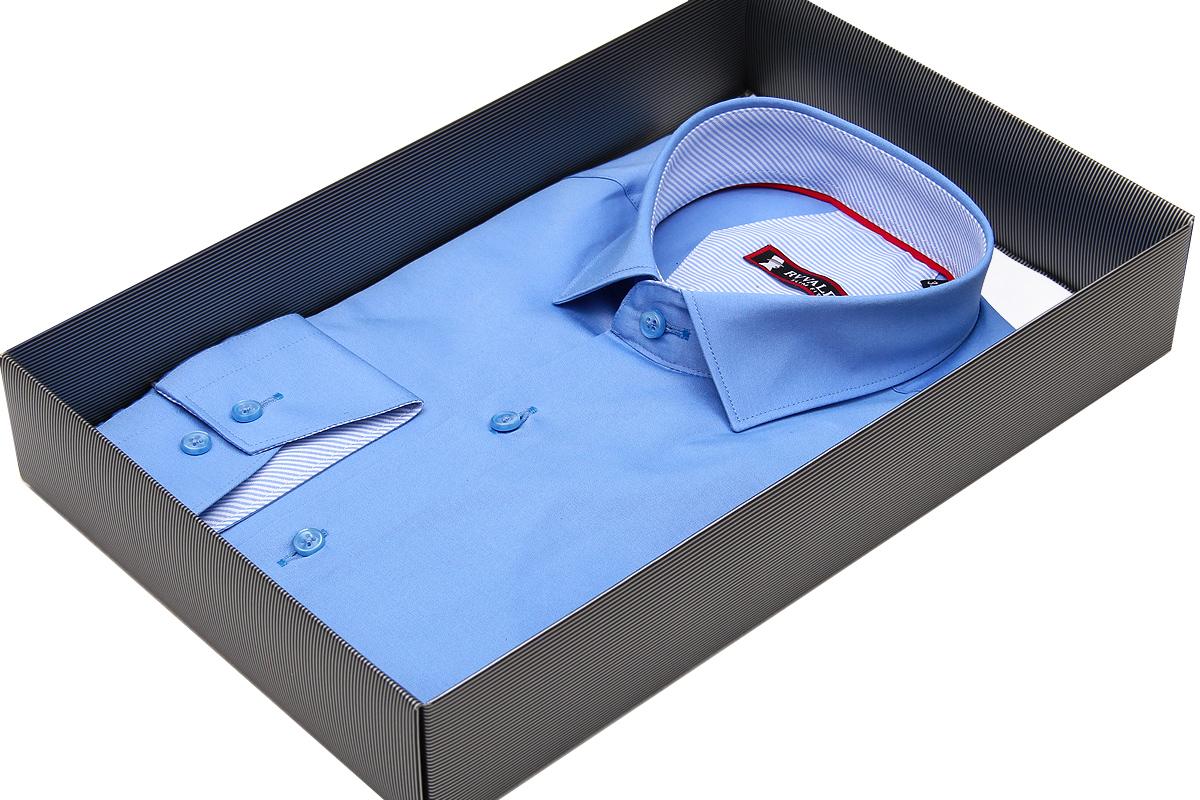 Голубая приталенная мужская сорочка Rvvaldi