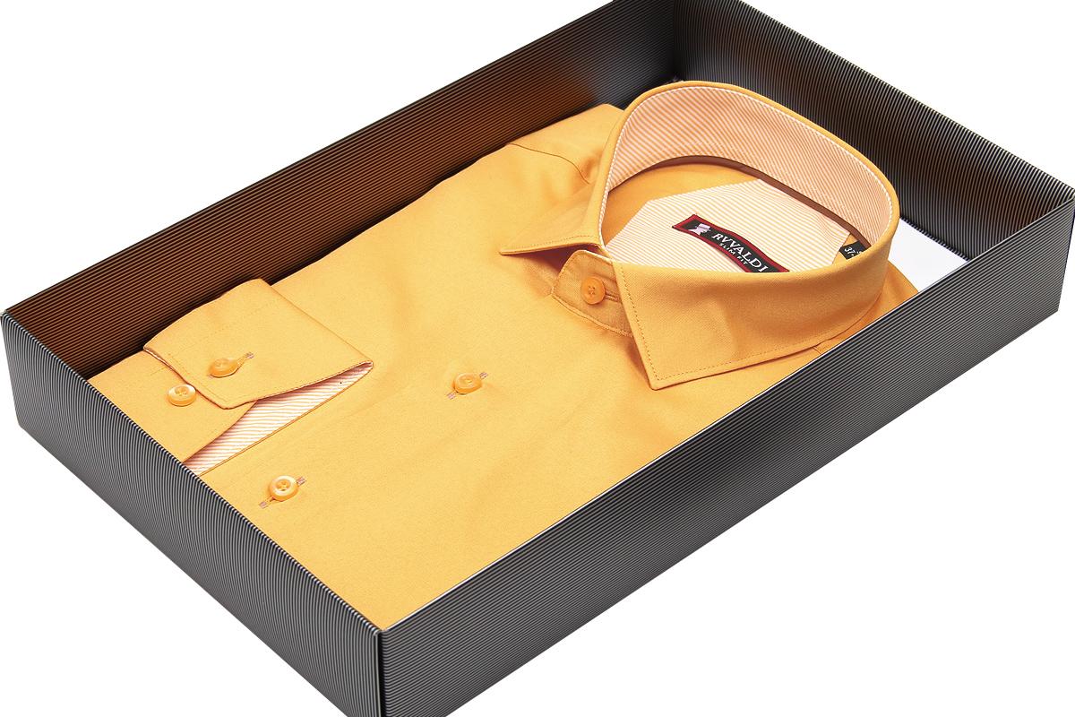 Горчичная приталенная мужская сорочка Rvvaldi
