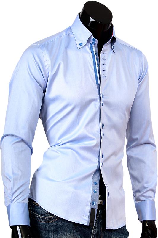 Голубая рубашка Alex Dandy с высоким воротником