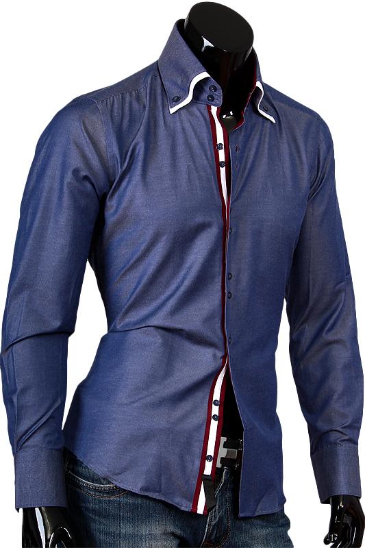 Синяя рубашка Alex Dandy с двойным воротником