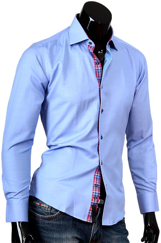 Голубая рубашка Alex Dandy с отделкой внутренней планки