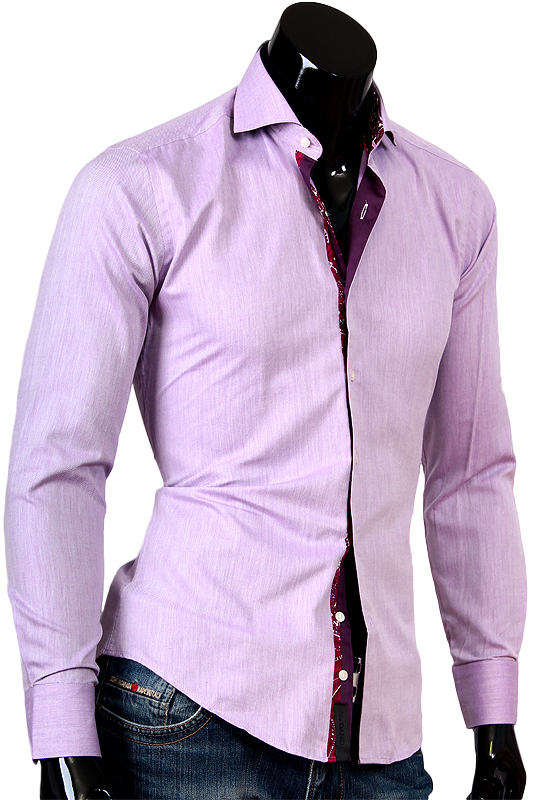 Сиреневая рубашка Alex Dandy с французским воротником