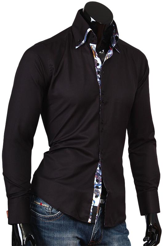 Черная комбинированная рубашка Aleх Dandy