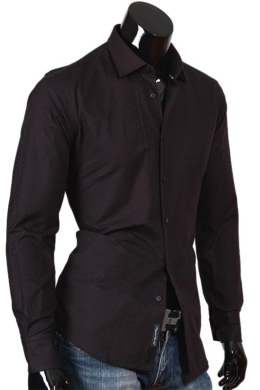 Черная мужская рубашка из текстурной ткани