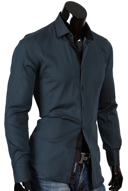 Черная мужская рубашка в зеленый горошек