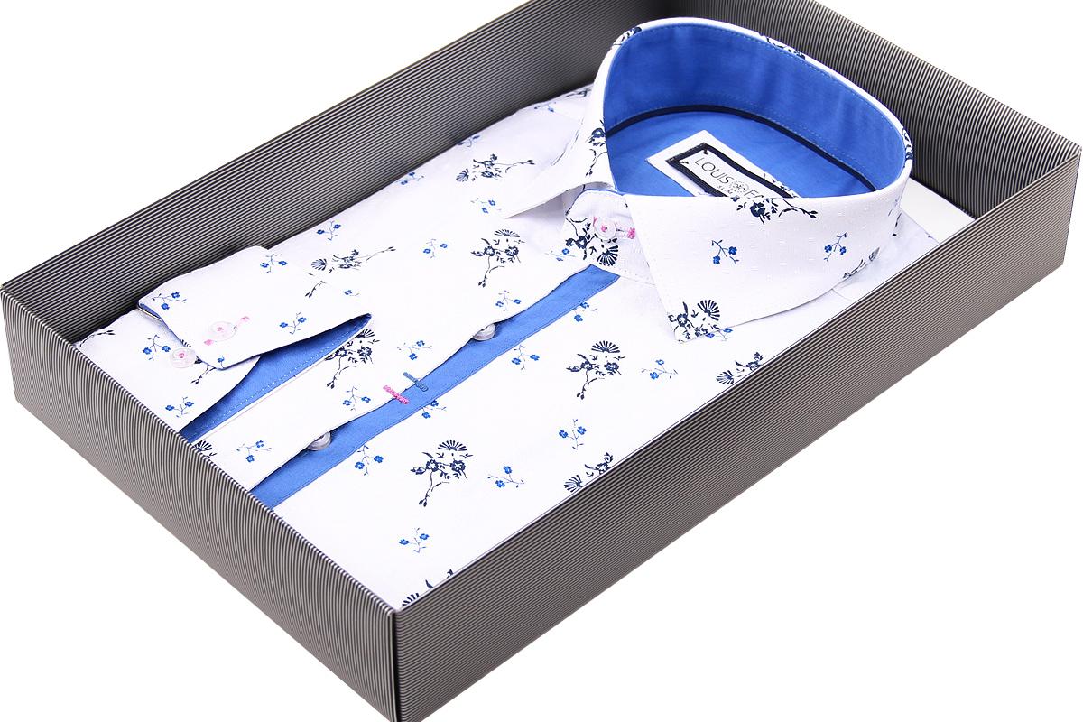 Белая приталенная рубашка Louis Fabel в цветочек