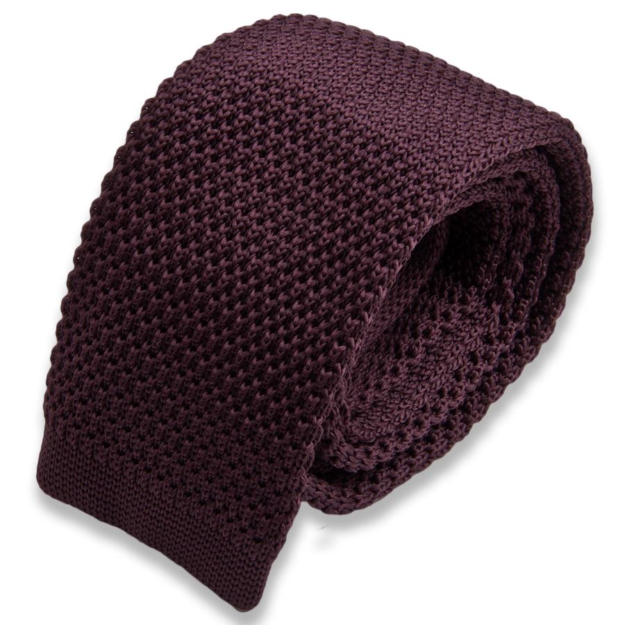 Коричневый вязаный мужской галстук