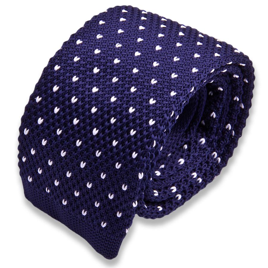 Темно синий вязаный мужской галстук