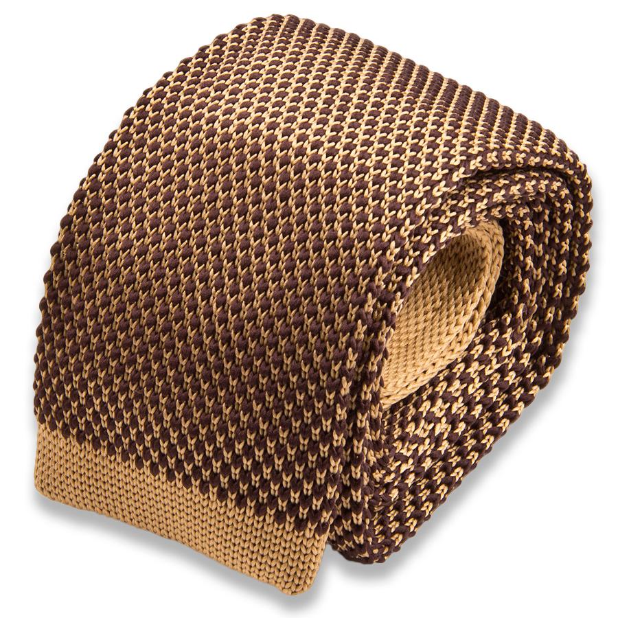 Бежевый мужской галстук в коричневый горошек