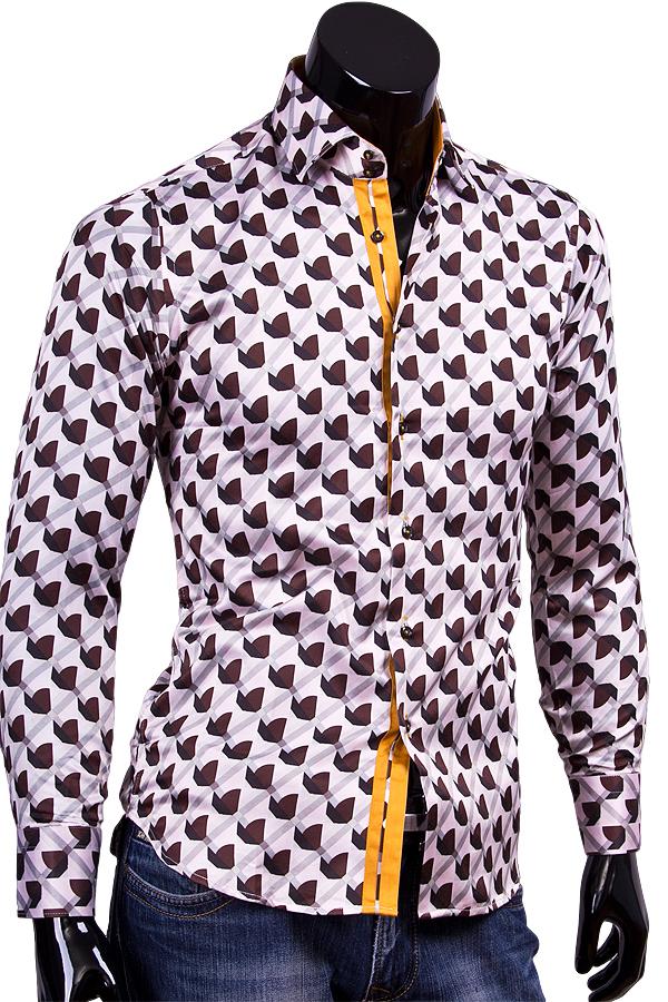 Приталенная рубашка с высоким воротником