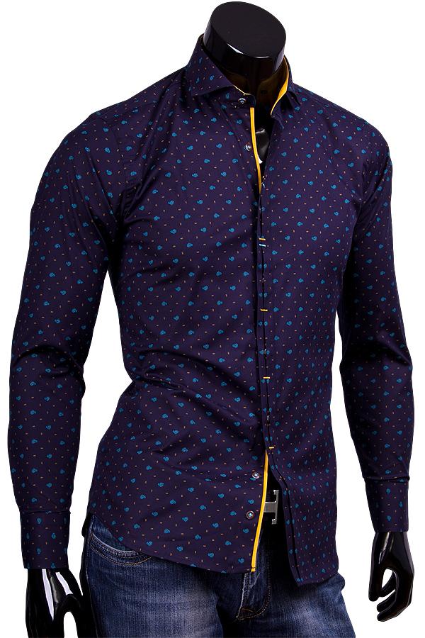 Темно синяя приталенная рубашка