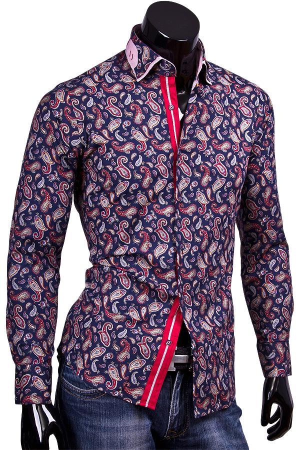 Приталенная рубашка в огурцах с двойным воротником