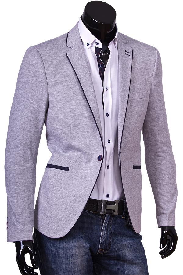 Серый пиджак под джинсы