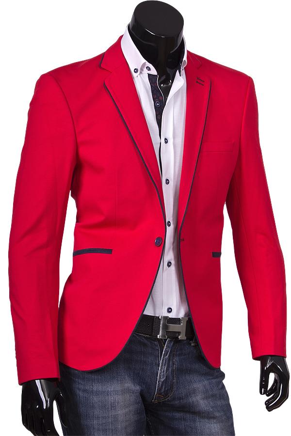 Красный пиджак под джинсы