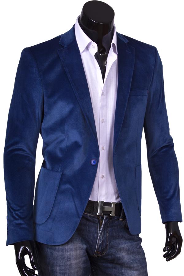 Синий мужской пиджак под джинсы