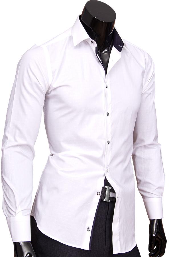 Белая приталенная мужская рубашка в огурцах