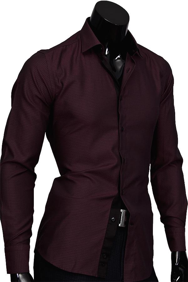 Бордовая приталенная мужская рубашка