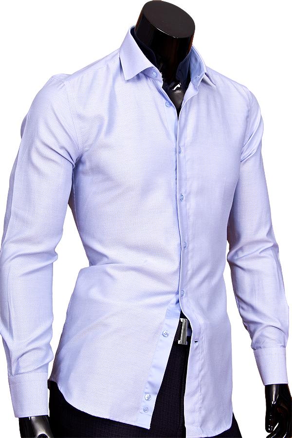 Голубая приталенная мужская рубашка