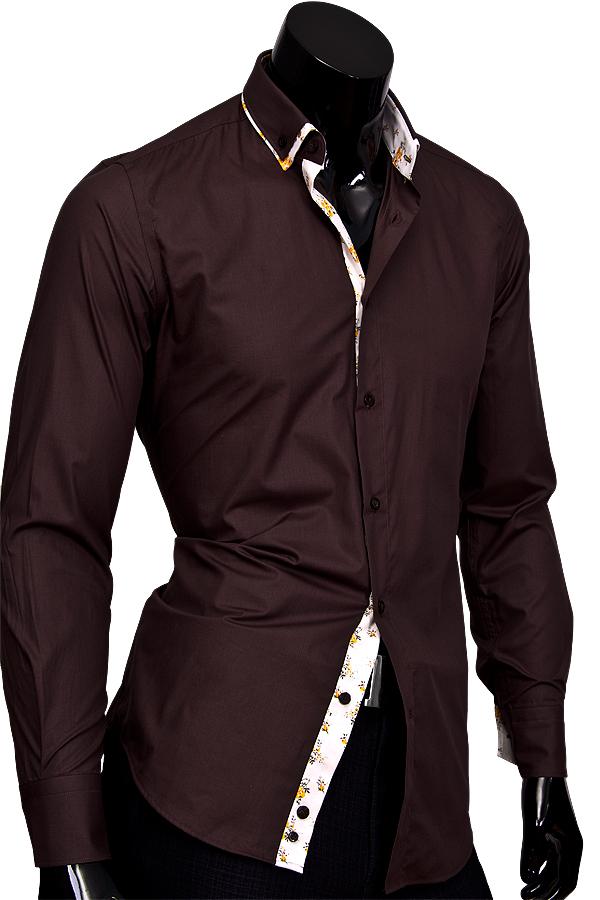 Коричневая приталенная мужская рубашка с двойным воротником
