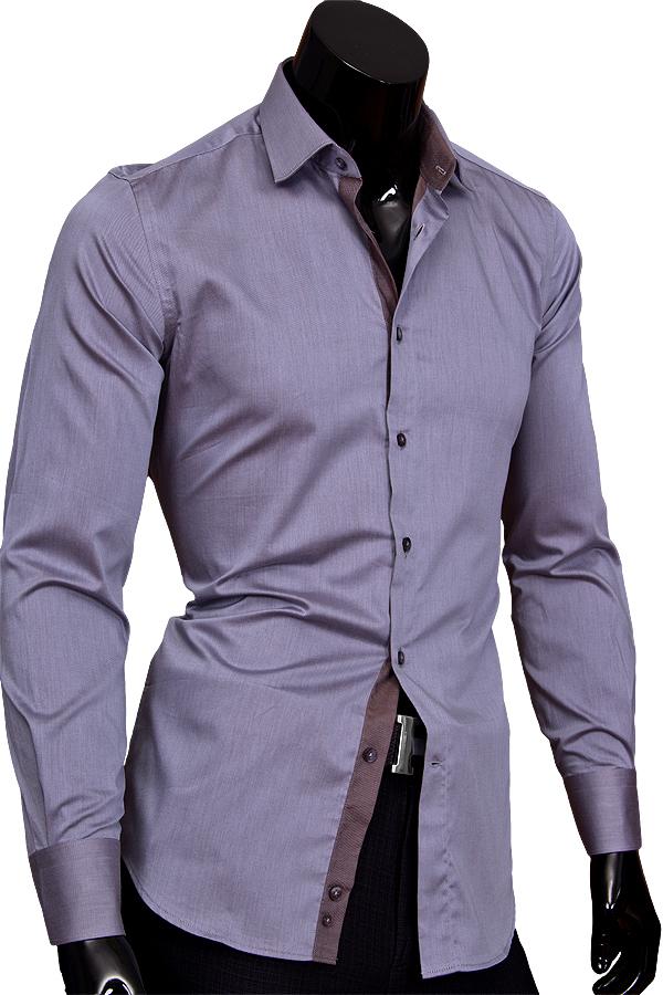 Серая приталенная мужская рубашка с длинным рукавом