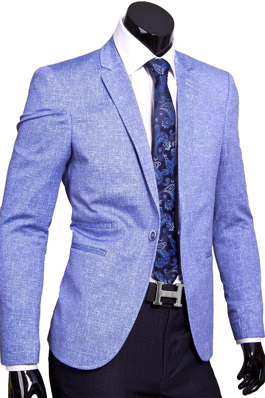 35207532733 Модный мужской пиджак под джинсы голубого цвета купить
