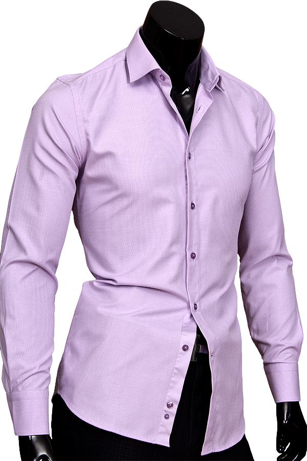 eb8168c22267dd2 Сиреневая приталенная мужская рубашка с длинным рукавом купить недорого