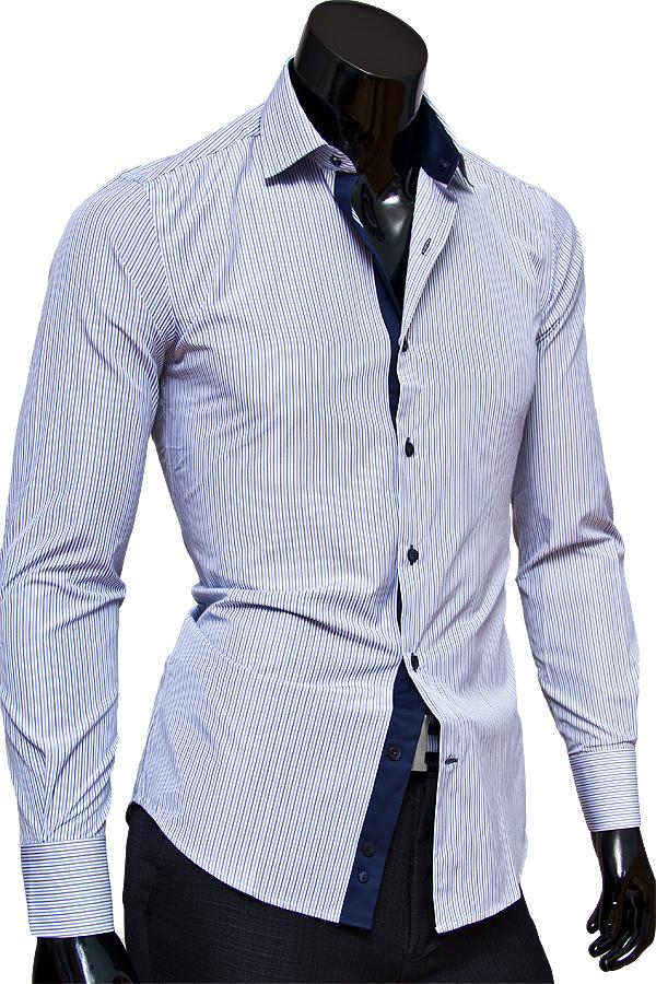 Белая приталенная мужская сорочка в полоску