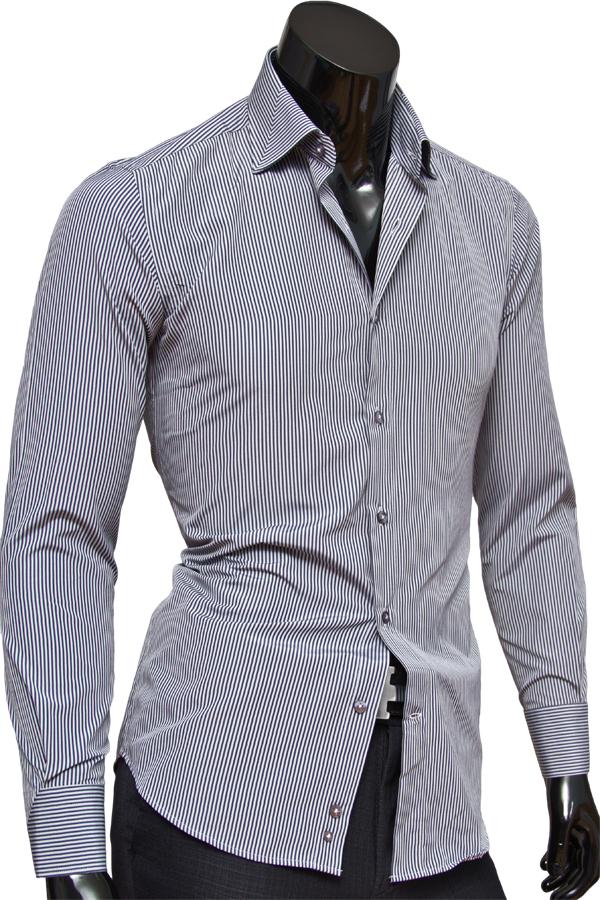Серая приталенная мужская сорочка в полоску
