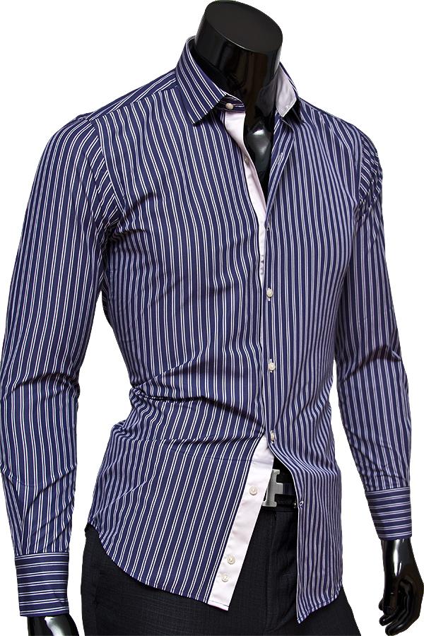Стильная мужская сорочка синего цвета