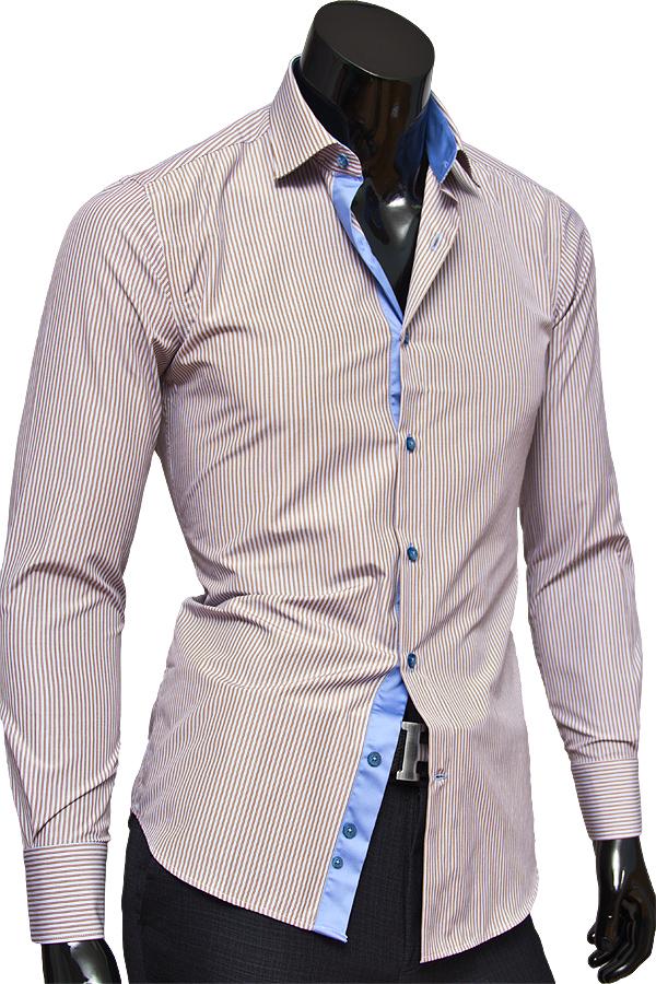 Стильная приталенная мужская рубашка с длинными рукавами