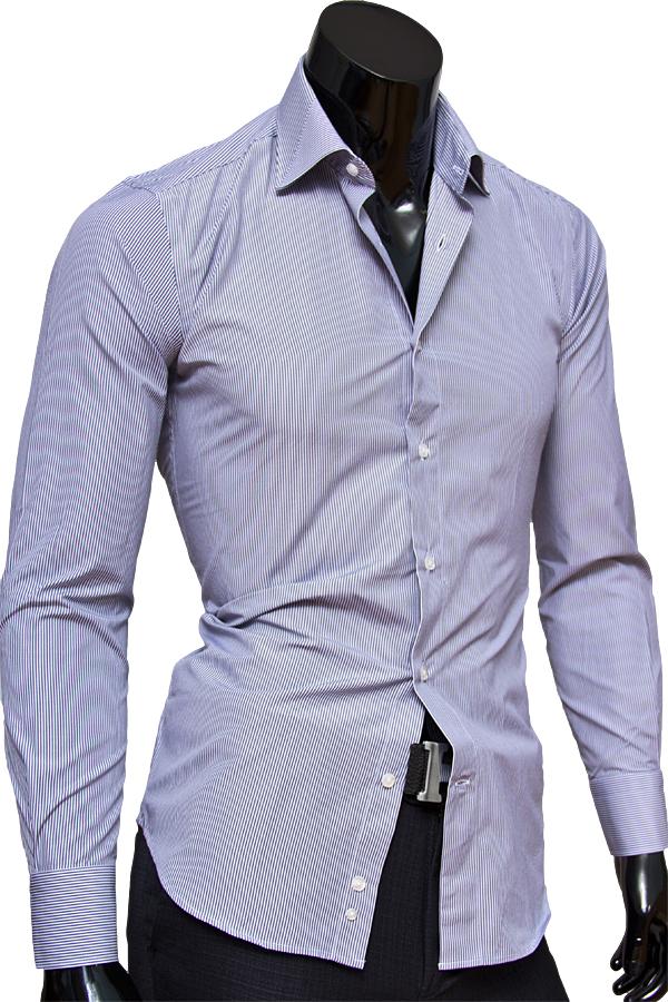 Приталенная мужская сорочка с длинными рукавами