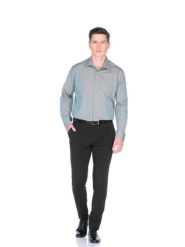 Приталенная мужская рубашка серо зеленого цвета хамелеон