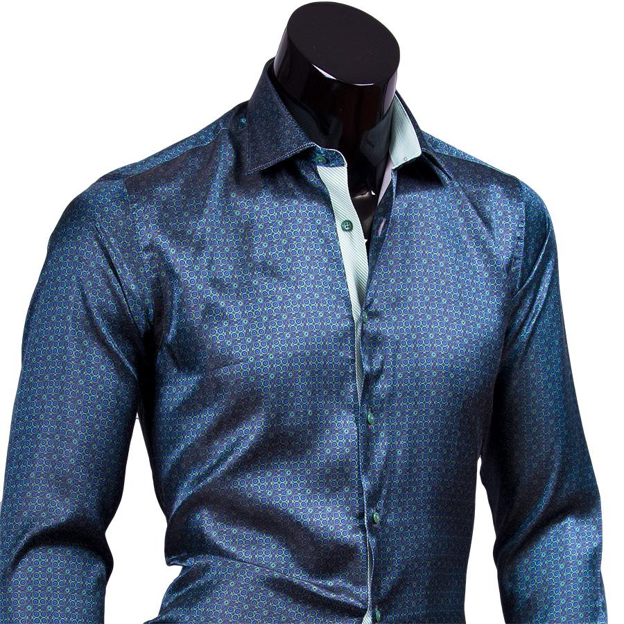 d9e3ceb3ff3 Темно зеленая мужская рубашка slim fit (стрейч) купить недорого в Москве