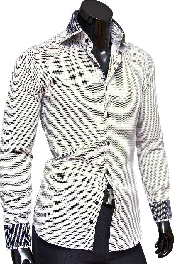 fba4c2d7f523a20 Светлая приталенная рубашка с двойным воротником купить недорого в ...