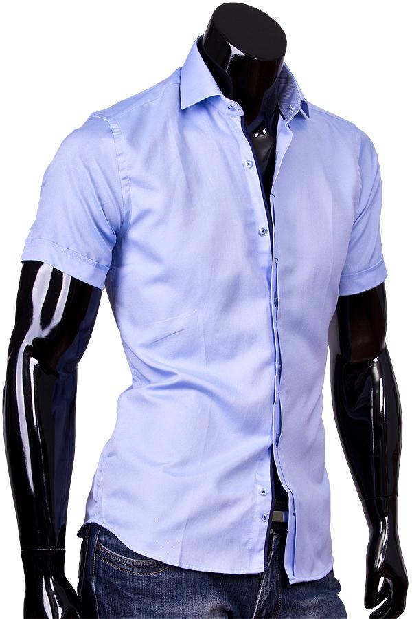 f2ddfaef6b7 Мужская рубашка с коротким рукавом голубого цвета купить недорого в ...