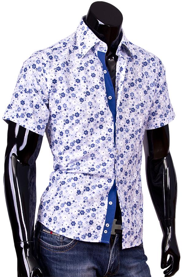 bb873904df2 Мужская рубашка Louis Fabel приталенная цвет белый в цветах купить в Москве  недорого