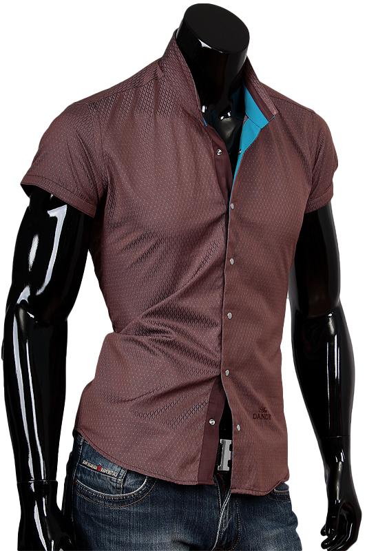 3acf2137672 Коричневая рубашка с воротником стойка и коротким рукавом купить ...