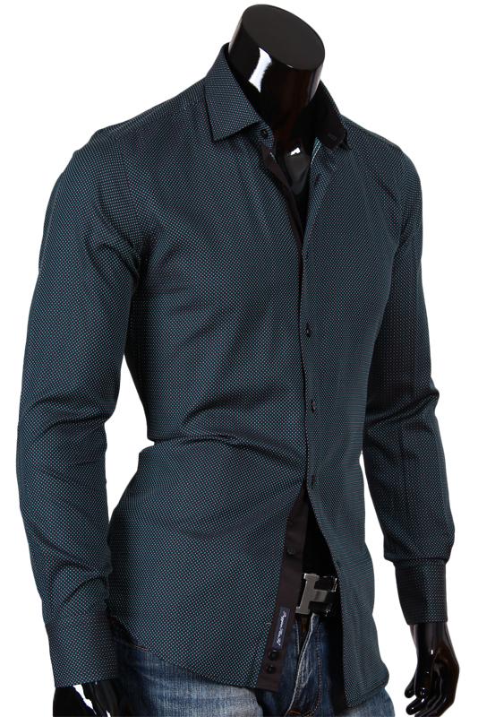 9dee58c5cdb76b3 Черная мужская рубашка в зеленый горошек купить недорого в Москве