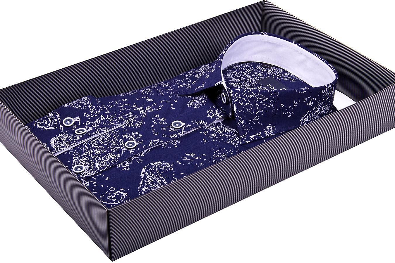 56bad616cd6 Темно синяя женская рубашка в восточных огурцах купить недорого в Москве