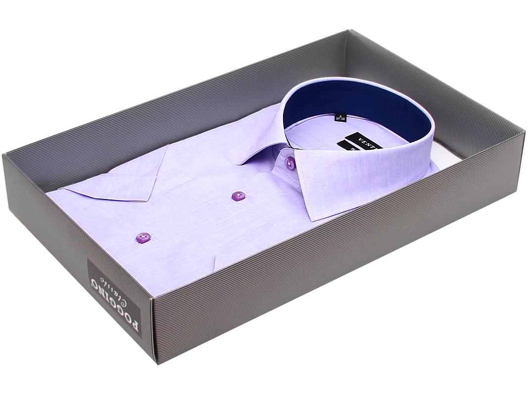 8f08dcc8b91 Мужская рубашка Venturo приталенная цвет сиреневый однотонный купить в Москве  недорого