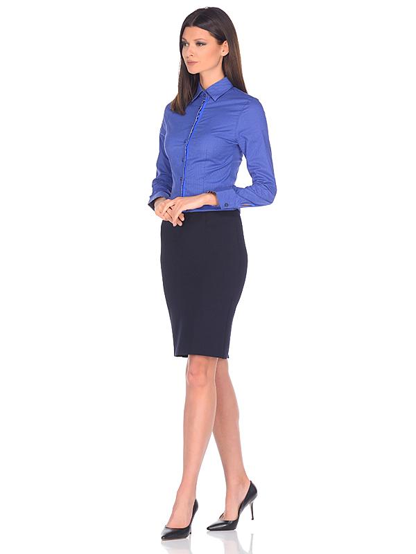 a15da70f795 Женская рубашка Louis Fabel приталенная цвет синий однотонный купить в  Москве недорого