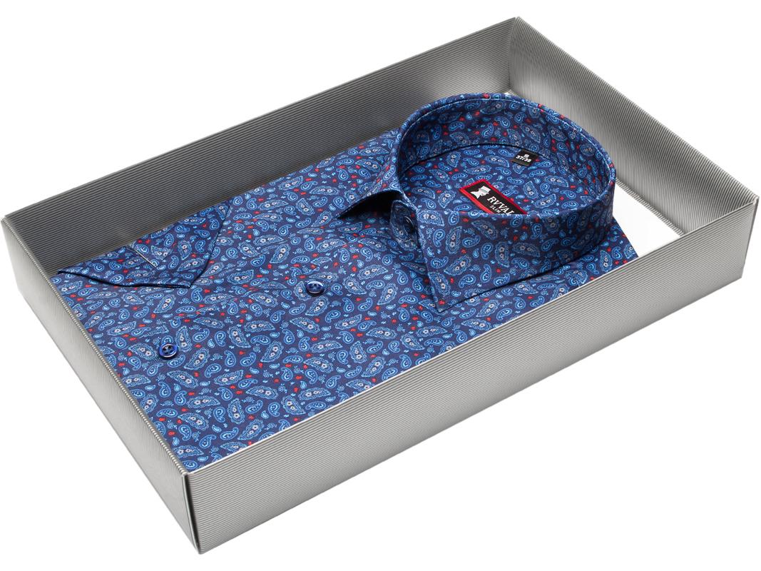 d76e3e79daa Мужская рубашка Rvvaldi приталенная цвет синий в восточных огурцах купить в Москве  недорого