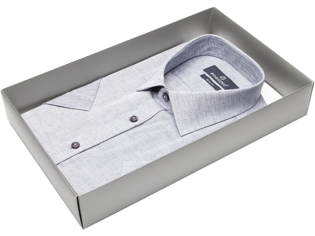 4dfcfe548b9 Мужская рубашка приталенная цвет серый меланж купить в Москве недорого