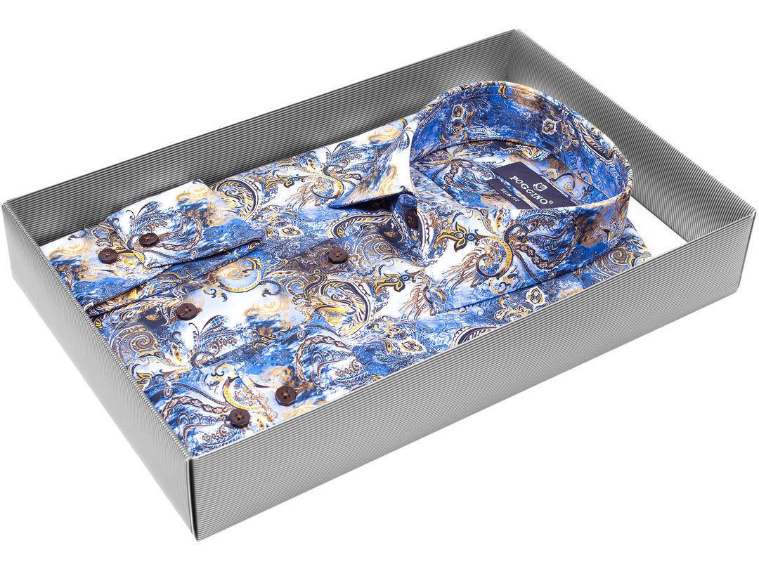 3ec2cc7ccb0 Мужская рубашка Poggino приталенная цвет голубой в восточных огурцах купить  в Москве недорого