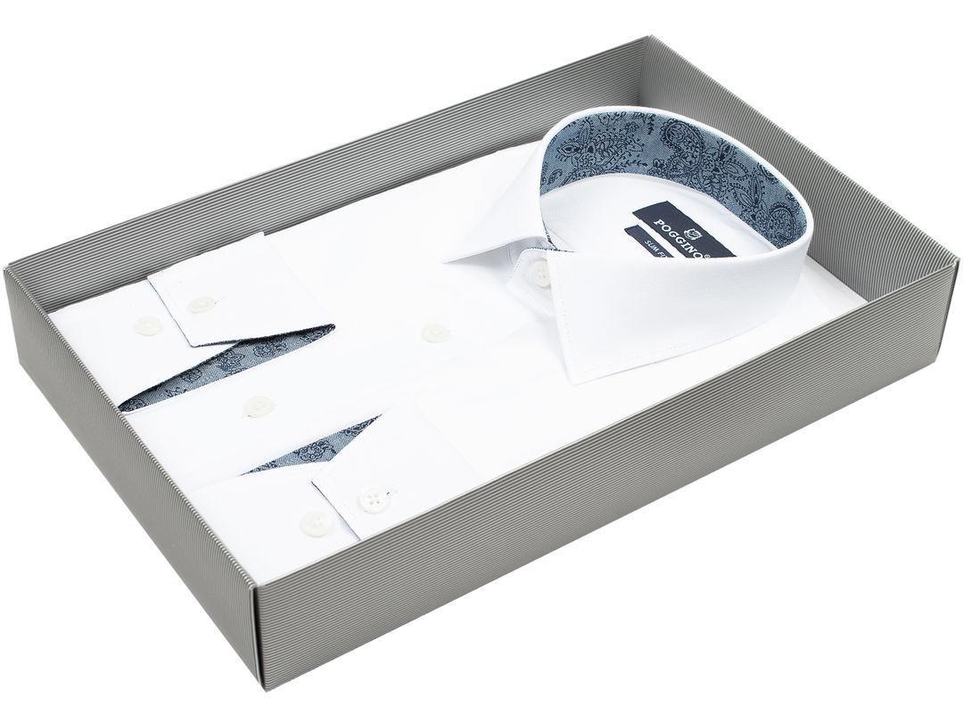 f060c667b034185 Мужская рубашка приталенная цвет белый однотонный купить в Москве недорого  · Poggino. Мужская рубашка