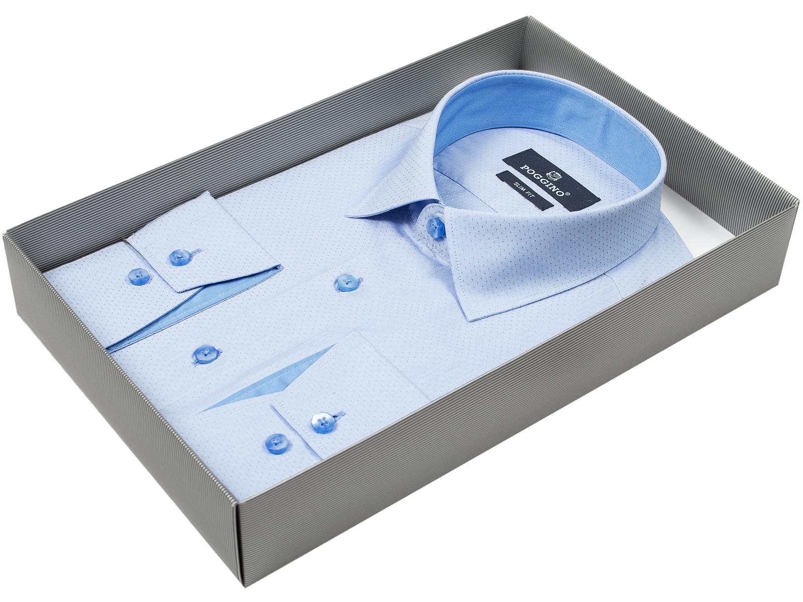 b14fd6cb87862b0 Мужская рубашка Poggino приталенная цвет голубой в горошек купить в Москве  недорого