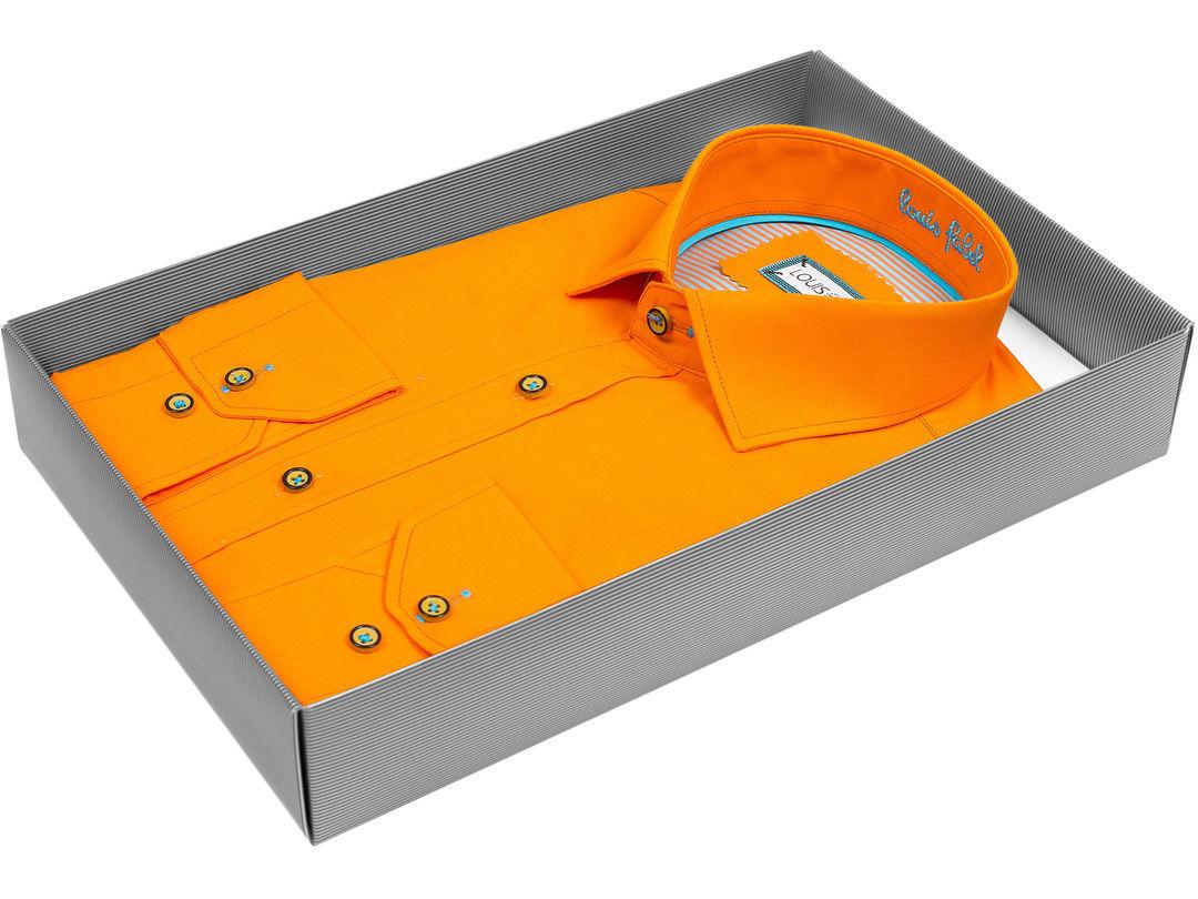 6993bda2fb0 Мужская рубашка Louis Fabel приталенная цвет оранжевый однотонный купить в Москве  недорого