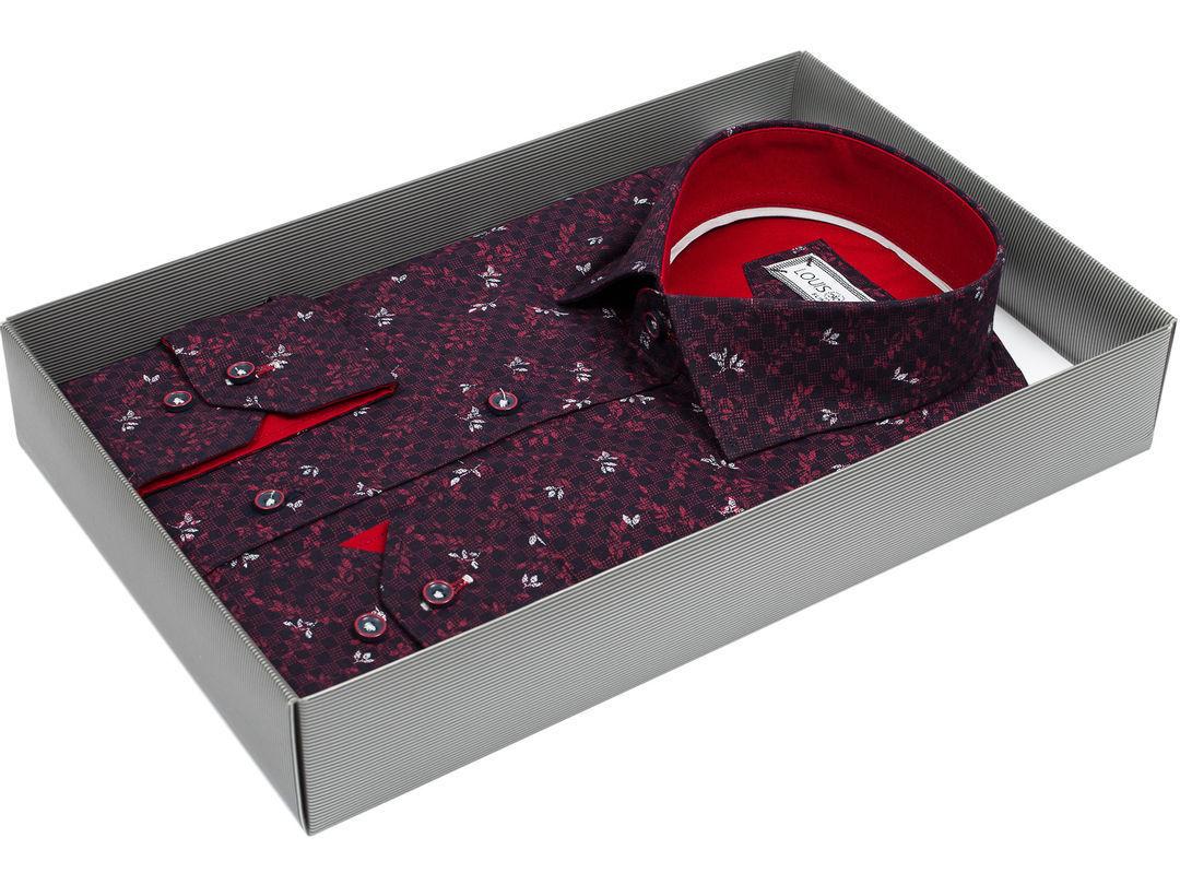61825768717 Мужская рубашка Louis Fabel приталенная цвет сливовый в листьях купить в Москве  недорого